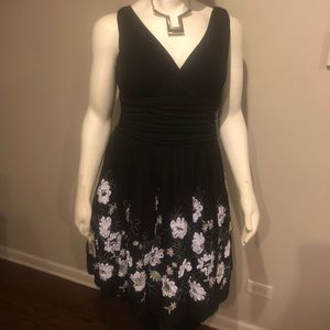 S.L. Fashions Black / White Embroidered Dress 18W